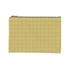 Golden Yellow Tablecloth Plaid Line Cosmetic Bag (large)  by Alisyart