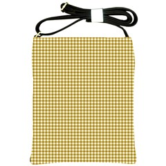 Golden Yellow Tablecloth Plaid Line Shoulder Sling Bags by Alisyart
