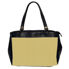 Golden Yellow Tablecloth Plaid Line Office Handbags (2 Sides)  by Alisyart