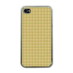 Golden Yellow Tablecloth Plaid Line Apple Iphone 4 Case (clear) by Alisyart