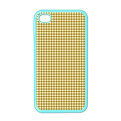 Golden Yellow Tablecloth Plaid Line Apple Iphone 4 Case (color) by Alisyart