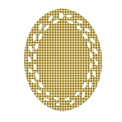 Golden Yellow Tablecloth Plaid Line Oval Filigree Ornament (two Sides) by Alisyart