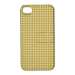Golden Yellow Tablecloth Plaid Line Apple Iphone 4/4s Hardshell Case With Stand by Alisyart