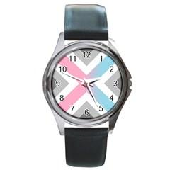 Flag X Blue Pink Grey White Chevron Round Metal Watch by Alisyart