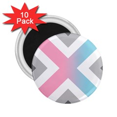 Flag X Blue Pink Grey White Chevron 2 25  Magnets (10 Pack)  by Alisyart