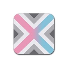 Flag X Blue Pink Grey White Chevron Rubber Coaster (square)  by Alisyart