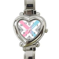 Flag X Blue Pink Grey White Chevron Heart Italian Charm Watch by Alisyart