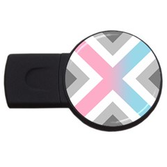 Flag X Blue Pink Grey White Chevron Usb Flash Drive Round (4 Gb) by Alisyart