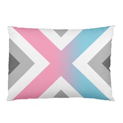 Flag X Blue Pink Grey White Chevron Pillow Case by Alisyart
