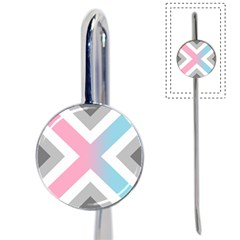 Flag X Blue Pink Grey White Chevron Book Mark by Alisyart