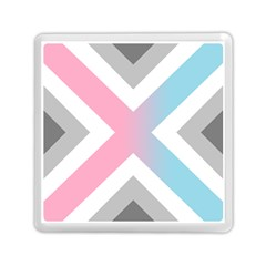 Flag X Blue Pink Grey White Chevron Memory Card Reader (square)  by Alisyart