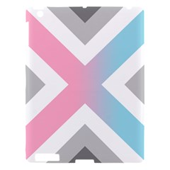 Flag X Blue Pink Grey White Chevron Apple Ipad 3/4 Hardshell Case by Alisyart