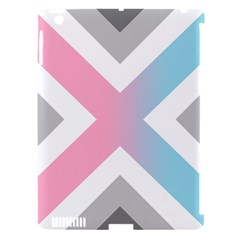 Flag X Blue Pink Grey White Chevron Apple Ipad 3/4 Hardshell Case (compatible With Smart Cover) by Alisyart