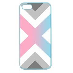 Flag X Blue Pink Grey White Chevron Apple Seamless Iphone 5 Case (color) by Alisyart
