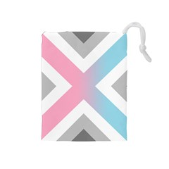Flag X Blue Pink Grey White Chevron Drawstring Pouches (medium)  by Alisyart