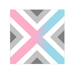 Flag X Blue Pink Grey White Chevron Small Satin Scarf (square) by Alisyart