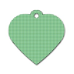 Green Tablecloth Plaid Line Dog Tag Heart (one Side) by Alisyart