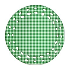 Green Tablecloth Plaid Line Round Filigree Ornament (two Sides) by Alisyart