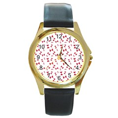 Hour Glass Pattern Red White Triangle Round Gold Metal Watch by Alisyart
