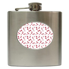 Hour Glass Pattern Red White Triangle Hip Flask (6 Oz) by Alisyart