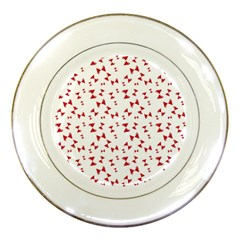 Hour Glass Pattern Red White Triangle Porcelain Plates by Alisyart