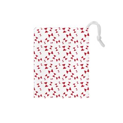 Hour Glass Pattern Red White Triangle Drawstring Pouches (small)  by Alisyart