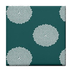 Green Circle Floral Flower Blue White Tile Coasters by Alisyart