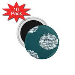 Green Circle Floral Flower Blue White 1 75  Magnets (10 Pack)  by Alisyart