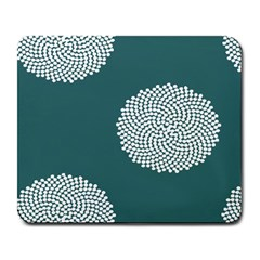 Green Circle Floral Flower Blue White Large Mousepads by Alisyart