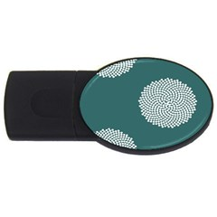 Green Circle Floral Flower Blue White Usb Flash Drive Oval (2 Gb) by Alisyart