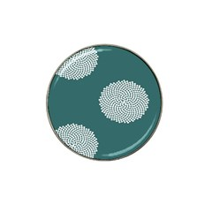 Green Circle Floral Flower Blue White Hat Clip Ball Marker (4 Pack) by Alisyart