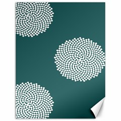 Green Circle Floral Flower Blue White Canvas 12  X 16   by Alisyart