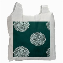 Green Circle Floral Flower Blue White Recycle Bag (one Side) by Alisyart