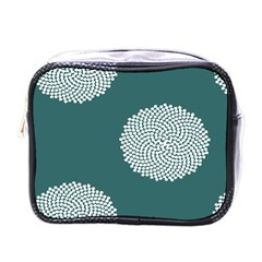 Green Circle Floral Flower Blue White Mini Toiletries Bags by Alisyart