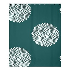 Green Circle Floral Flower Blue White Shower Curtain 60  X 72  (medium)  by Alisyart