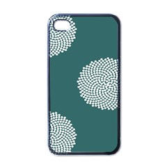 Green Circle Floral Flower Blue White Apple Iphone 4 Case (black) by Alisyart