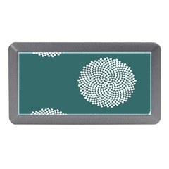 Green Circle Floral Flower Blue White Memory Card Reader (mini) by Alisyart