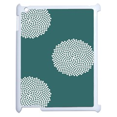 Green Circle Floral Flower Blue White Apple Ipad 2 Case (white) by Alisyart