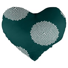Green Circle Floral Flower Blue White Large 19  Premium Heart Shape Cushions by Alisyart