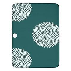 Green Circle Floral Flower Blue White Samsung Galaxy Tab 3 (10 1 ) P5200 Hardshell Case  by Alisyart