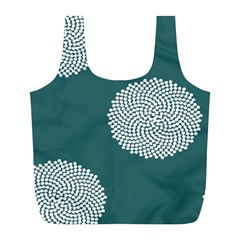 Green Circle Floral Flower Blue White Full Print Recycle Bags (l)  by Alisyart