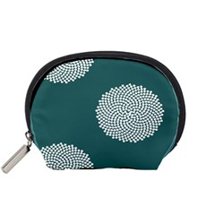 Green Circle Floral Flower Blue White Accessory Pouches (small)  by Alisyart