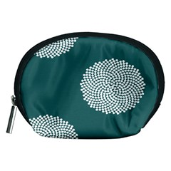 Green Circle Floral Flower Blue White Accessory Pouches (medium)  by Alisyart