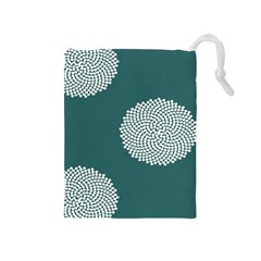 Green Circle Floral Flower Blue White Drawstring Pouches (medium)  by Alisyart
