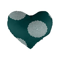 Green Circle Floral Flower Blue White Standard 16  Premium Flano Heart Shape Cushions by Alisyart