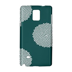Green Circle Floral Flower Blue White Samsung Galaxy Note 4 Hardshell Case by Alisyart