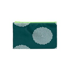 Green Circle Floral Flower Blue White Cosmetic Bag (xs) by Alisyart