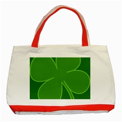 Leaf Clover Green Classic Tote Bag (red) by Alisyart