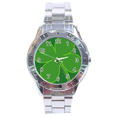 Leaf Clover Green Stainless Steel Analogue Watch by Alisyart