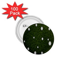 Graphics Green Leaves Star White Floral Sunflower 1 75  Buttons (100 Pack)  by Alisyart